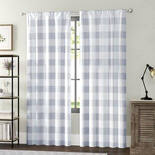 gray and white curtain panels plain white quickview check plaid curtains drapes youll love wayfair
