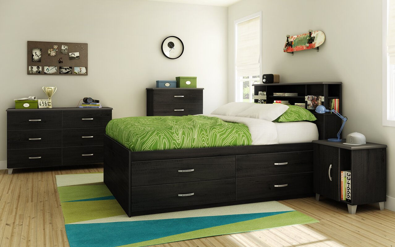 South shore lazer full captain 39 s bed with storage - Wayfair childrens bedroom furniture ...
