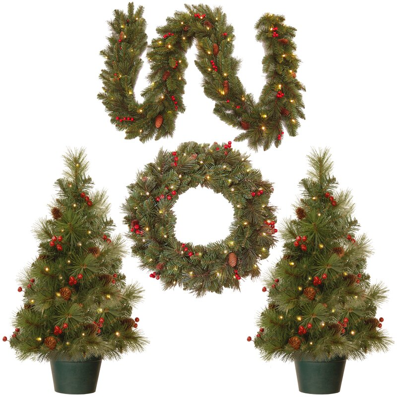 4 piece green pine artificial christmas tree wreath and garland set - Decorated Artificial Christmas Trees