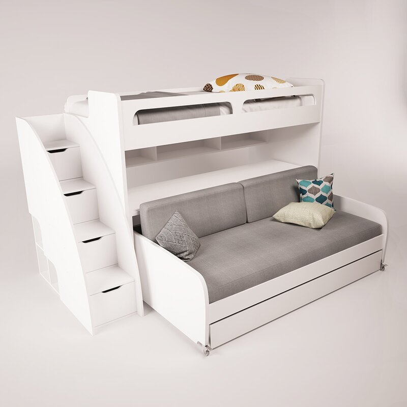 Brayden Studio Gautreau Twin Futon Bunk Bed with Table and Trundle ...