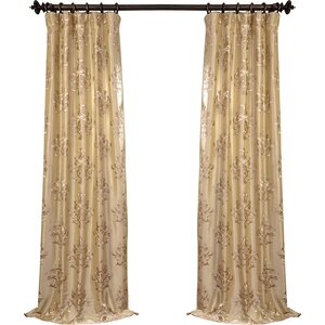 Ankara Damask Embroidered Faux Silk Rod Pocket Single Curtain Panel