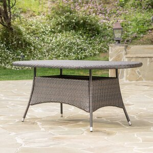 Bleich Outdoor Wicker Oval Dining Table