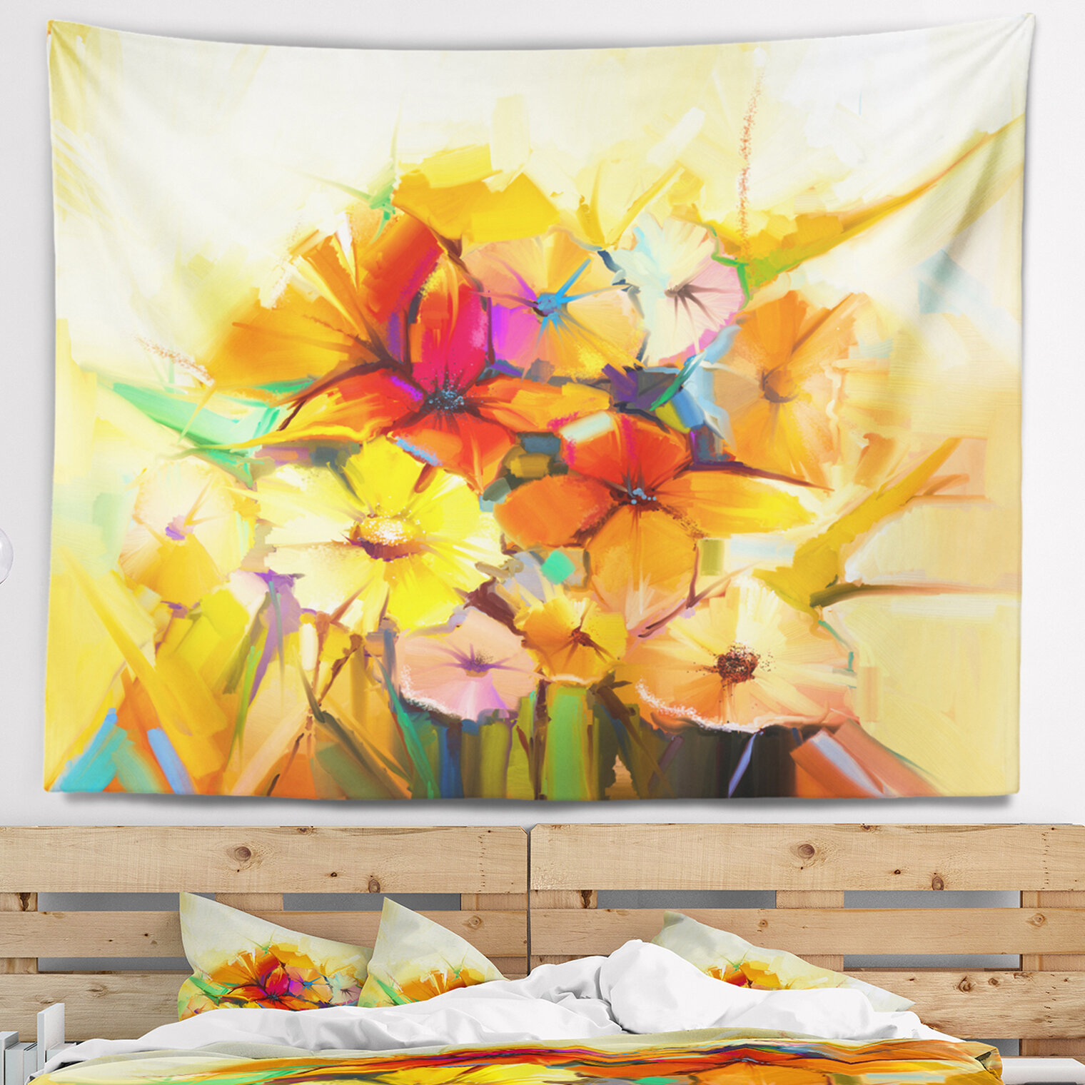 East Urban Home Floral Fantastic Colorful Gerbera Flowers Tapestry ...