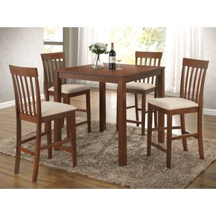 Hitchens 5 Piece Counter Height Solid Wood Dining Set