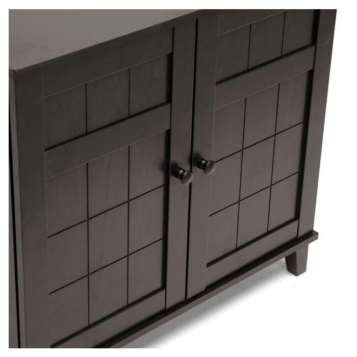 12 Pair Wood Shoe Storage Cabinet
