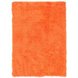 Boley Faux Sheepskin Hand-Tufted Orange Area Rug
