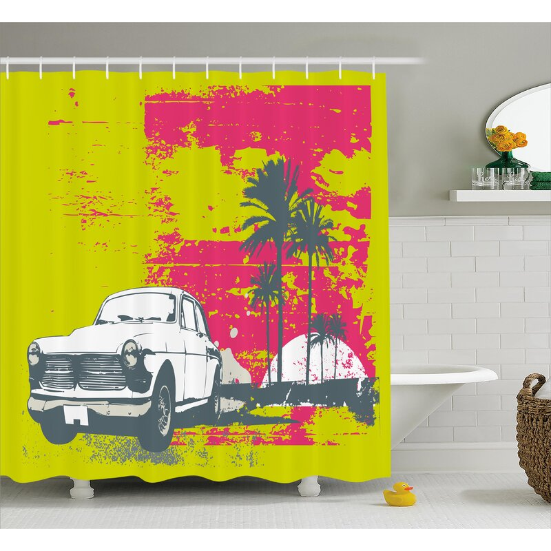 East Urban Home Vintage Car Shower Curtain | Wayfair