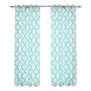 Arrey Basketweave Geometric Semi Sheer Grommet Curtain Panel Set Of 2