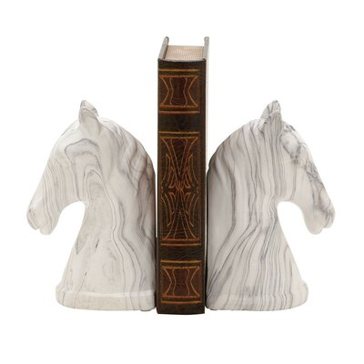 Charlton Home Equestrian Bust Book Ends Color: White