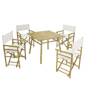 Whitson Bamboo Pub 5 Piece Dining Set With Umbrella