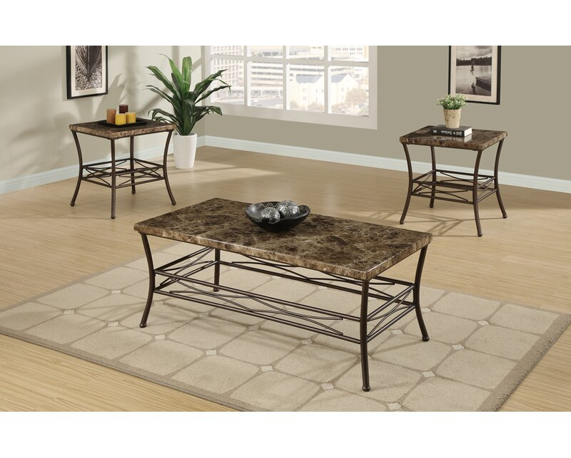 Canisteo Faux Marble Top 3 Piece Coffee Table Set