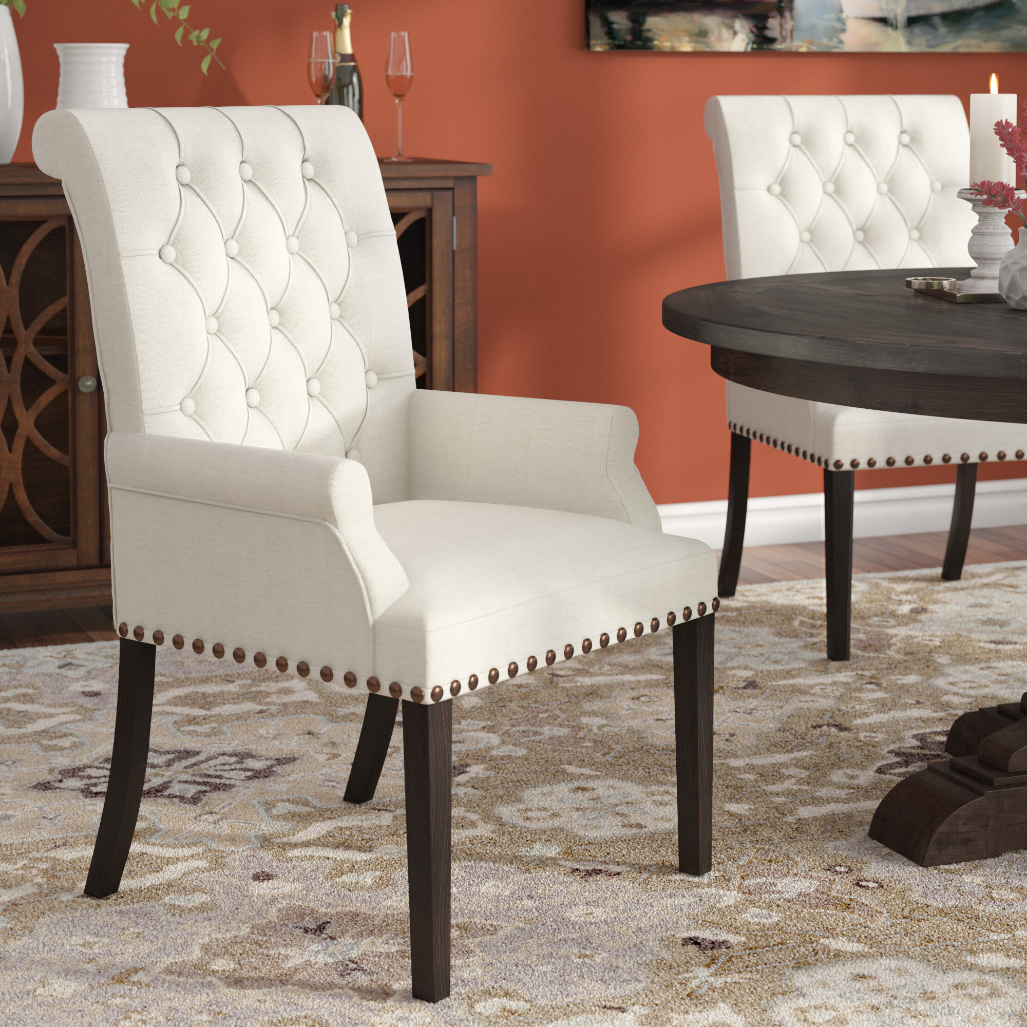 upholstered dining room chairs with arms