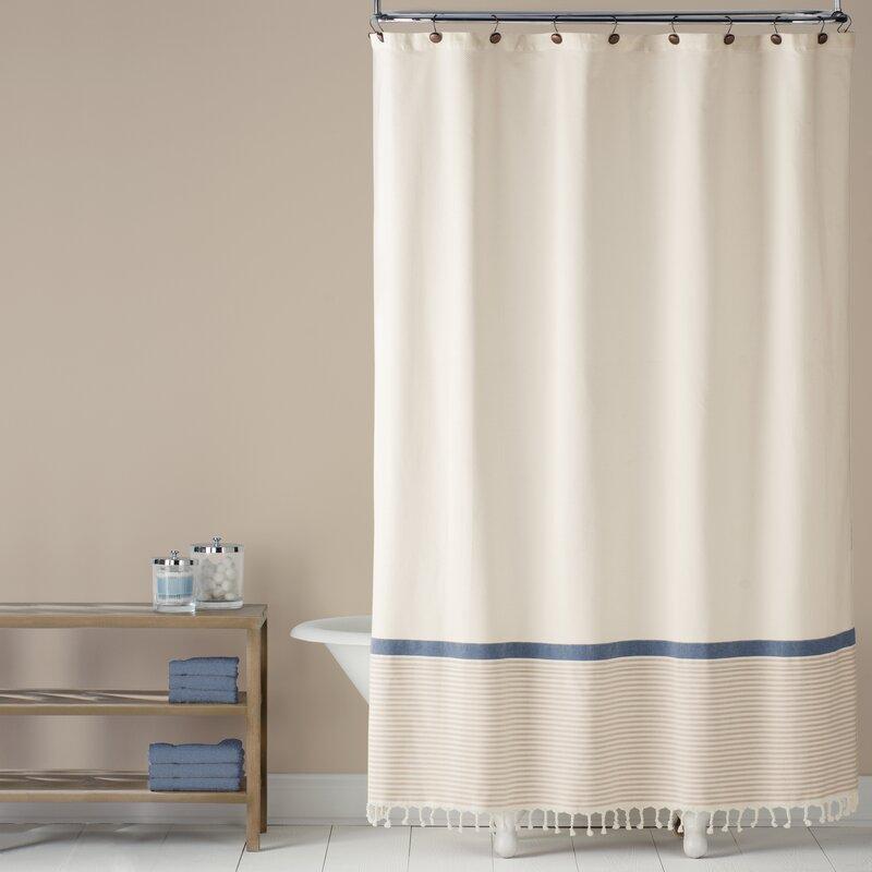 Fringe Border 100 Cotton Shower Curtain
