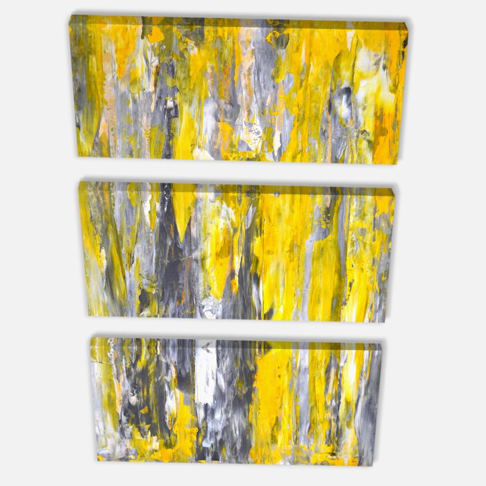 bf0bd30f93b Grey and Yellow Abstract Pattern - 3 Piece Graphic Art on Wrapped Canvas Set