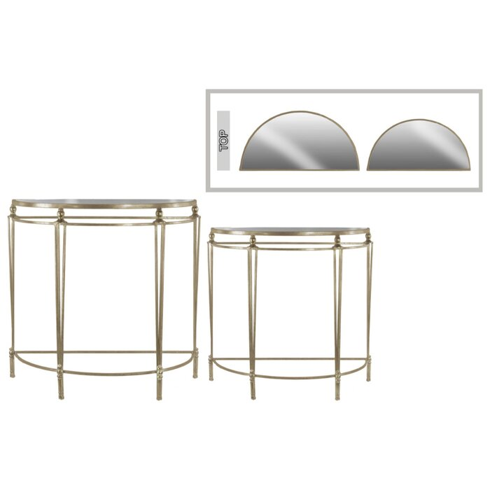 Everly Quinn Eleanora Mesmerizing Half Moon 2 Piece Console Table ...