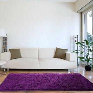 lutner high pile shag handwoven purple area rug