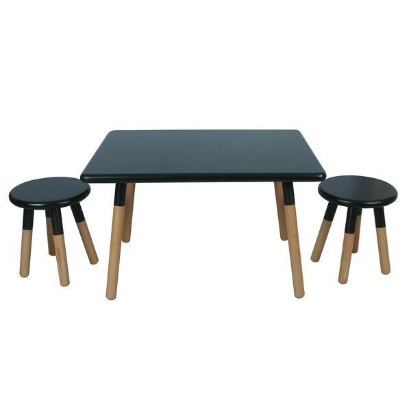kids 3 piece square table and stool set reviews allmodern. Black Bedroom Furniture Sets. Home Design Ideas