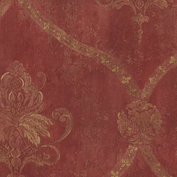 "Hot Springs 32.7' x 20.5"" Regal Damask Wallpaper Roll"