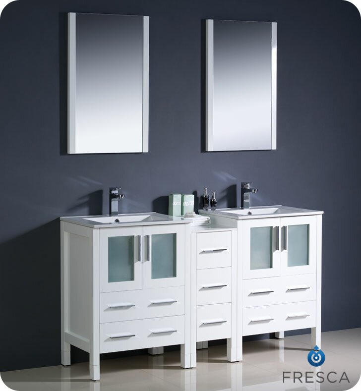 Fresca Torino Double Modern Sink Bathroom Vanity Set With Mirror - Bathroom vanities delray beach fl