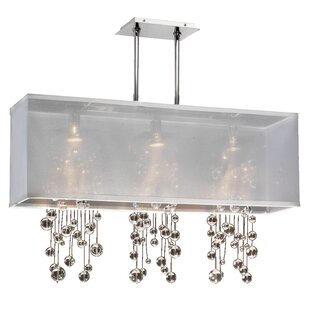 Long rectangle chandelier wayfair salerna rectangular shaded trimmed 3 light crystal chandelier mozeypictures Gallery