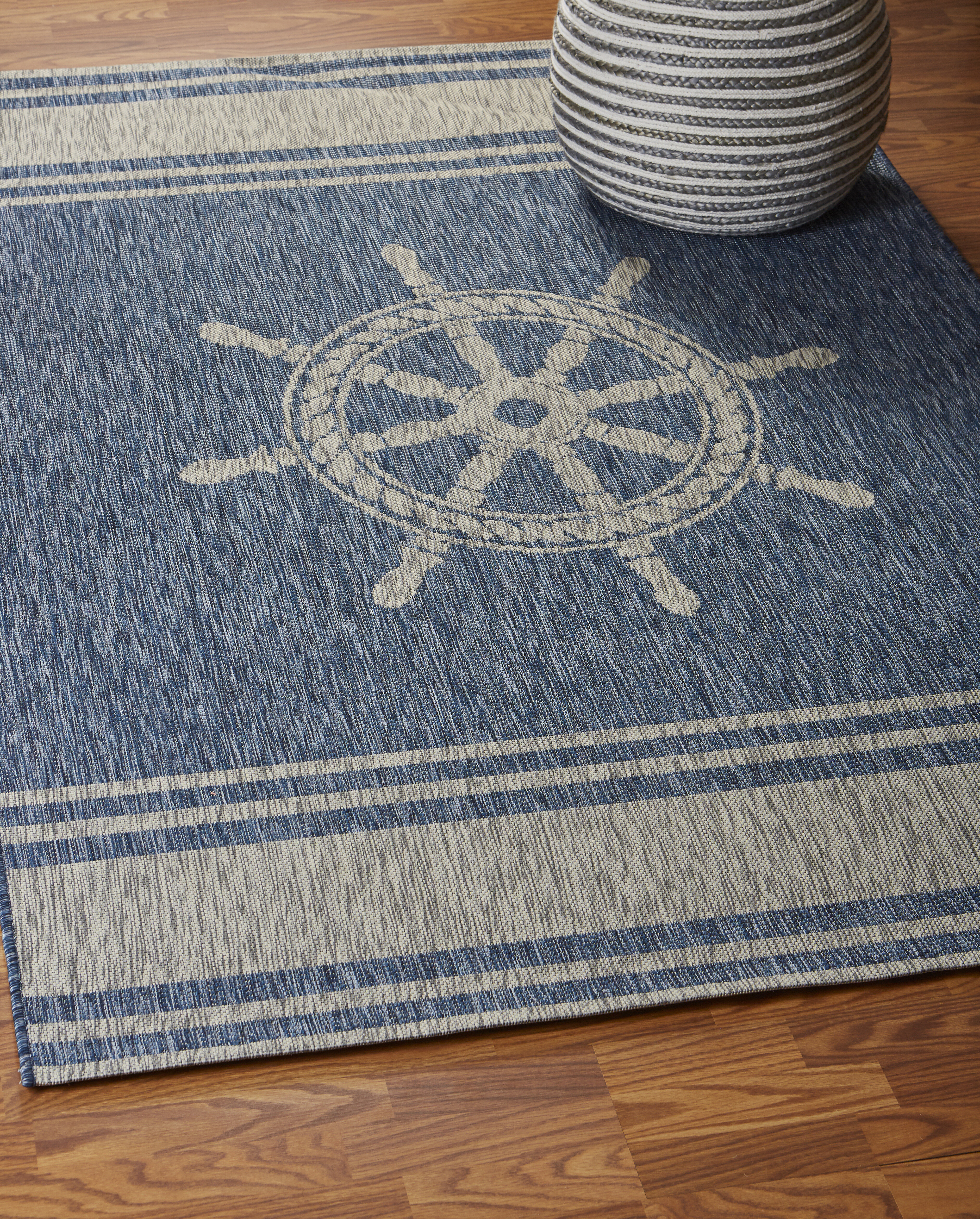 Breakwater Bay Weese Nautical Helm Navy Gray Indoor Outdoor Area Rug Reviews Wayfair