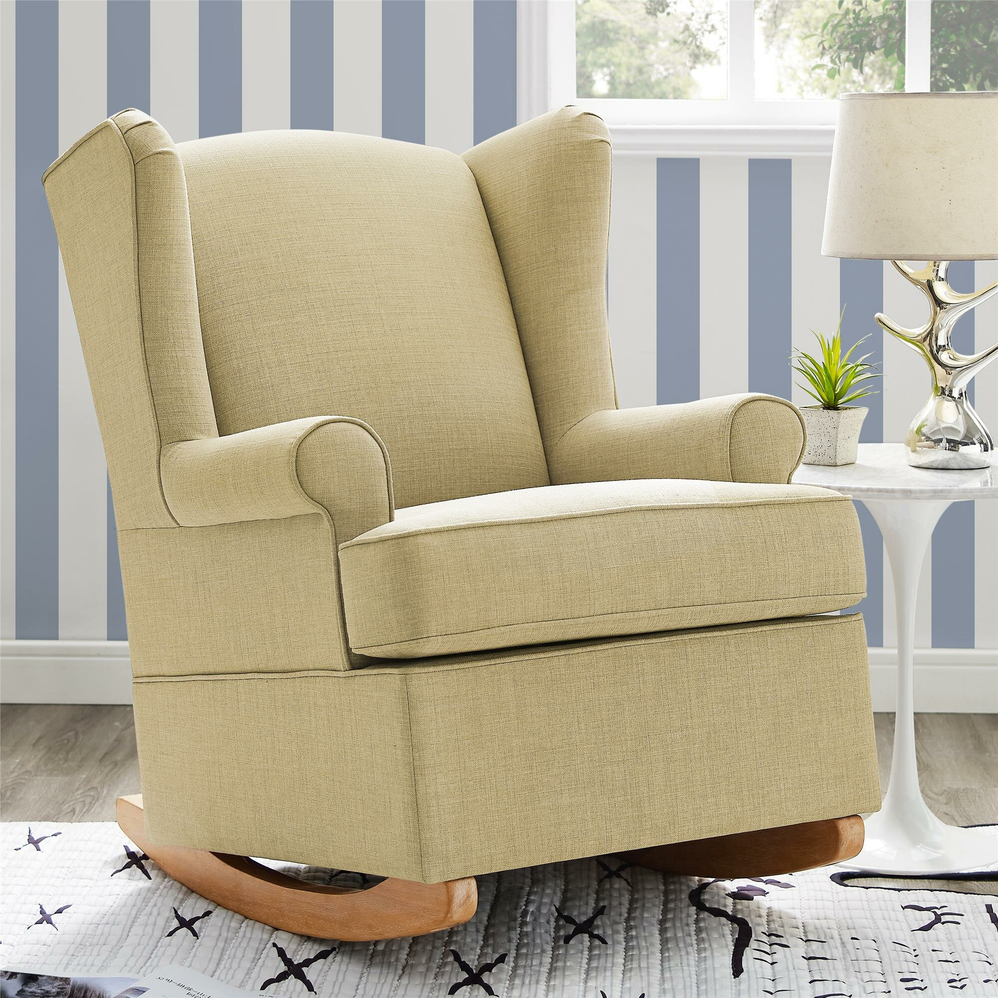 Bon Harriet Bee Bender Wingback Rocking Chair   Wayfair