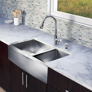 VIGO 36 inch Farmhouse Apron 60/40 Double Bowl 16 Gauge Stainless Steel Kitchen Sink with Astor Stainless Steel Faucet, Tw...