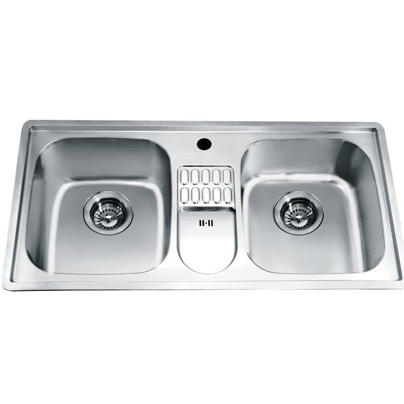 38 75   x 19 13   top mount equal double bowl kitchen sink dawn usa 38 75   x 19 13   top mount equal double bowl kitchen sink      rh   wayfair com