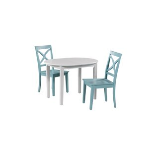 Leslie 3 Piece Extendable Solid Wood Dining Set