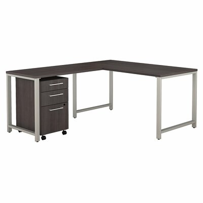 Bush Business Furniture 400 Series 3 Piece L-shaped Desk Office Suite Color: Storm Gray
