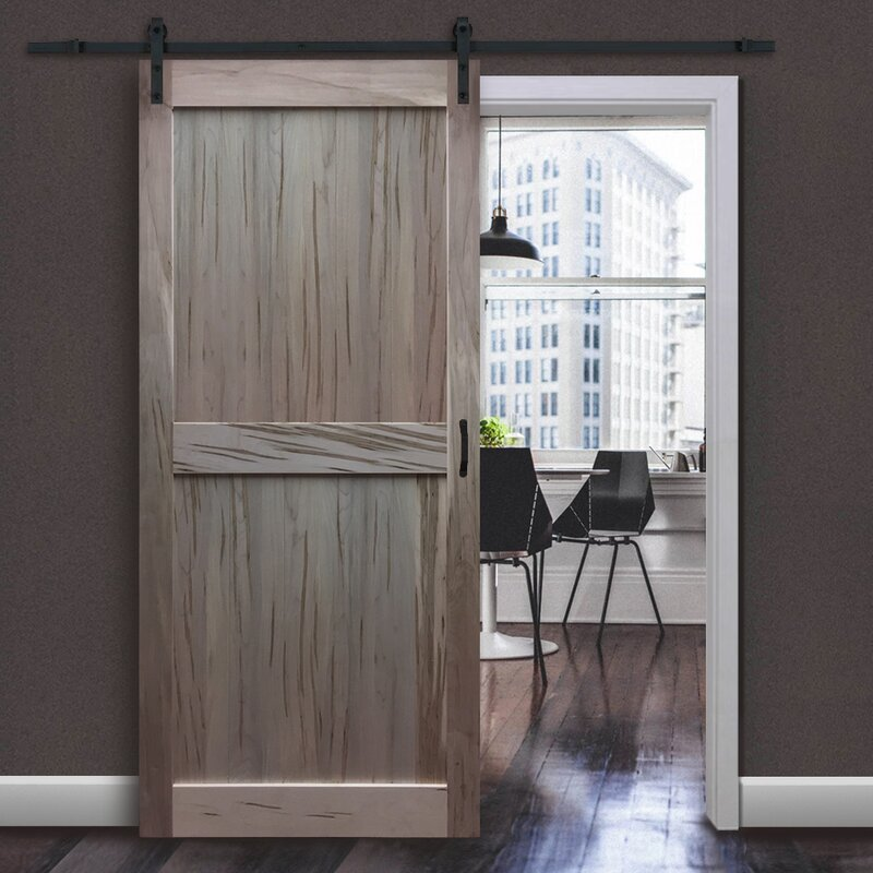 Paneled Wood Unfinished Barn Door Without Installation Hardware Kit