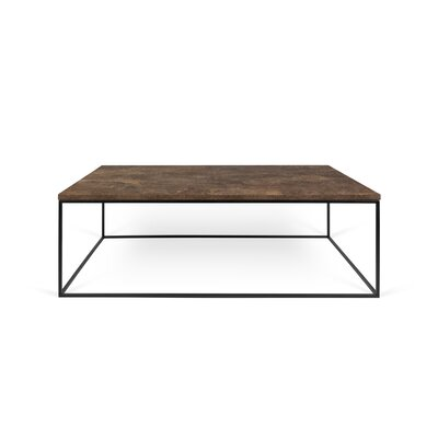 Brayden Studio Soltane Coffee Table Table Top Color: Rusty Look, Table Base Color: Black Lacquered Steel