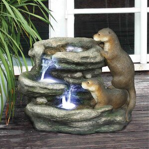 Resin Bright Waters Otters Garden Fountain Sculpture With LED Light
