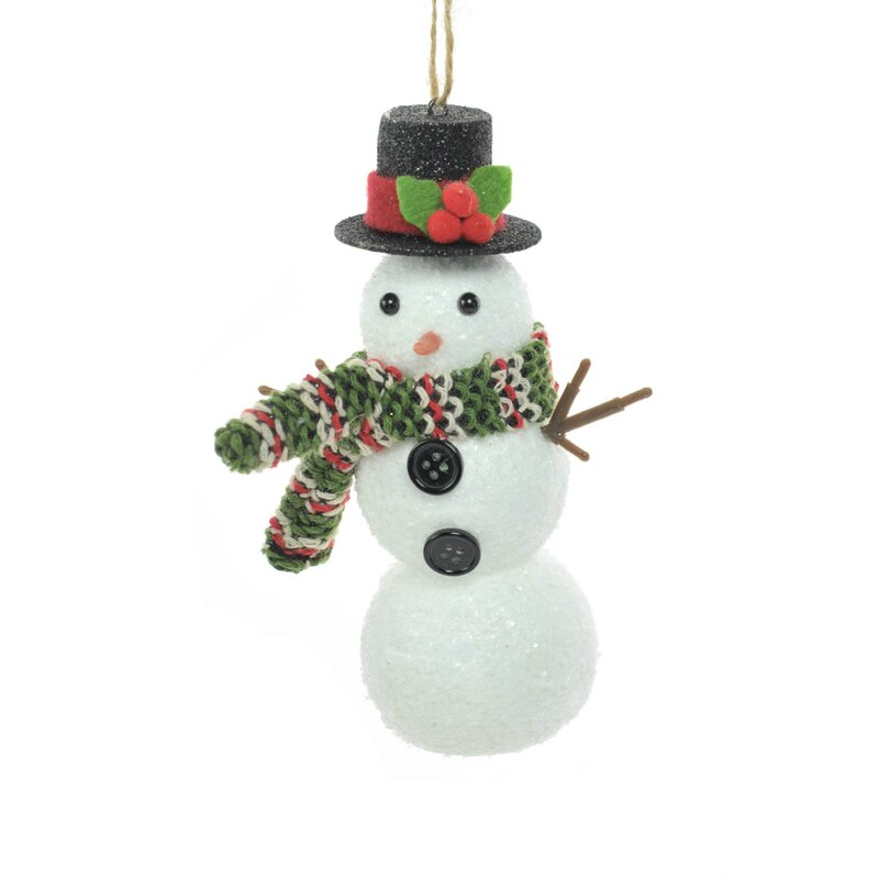 Top Hat Snowman with Top Hat Hanging Figurine Ornament