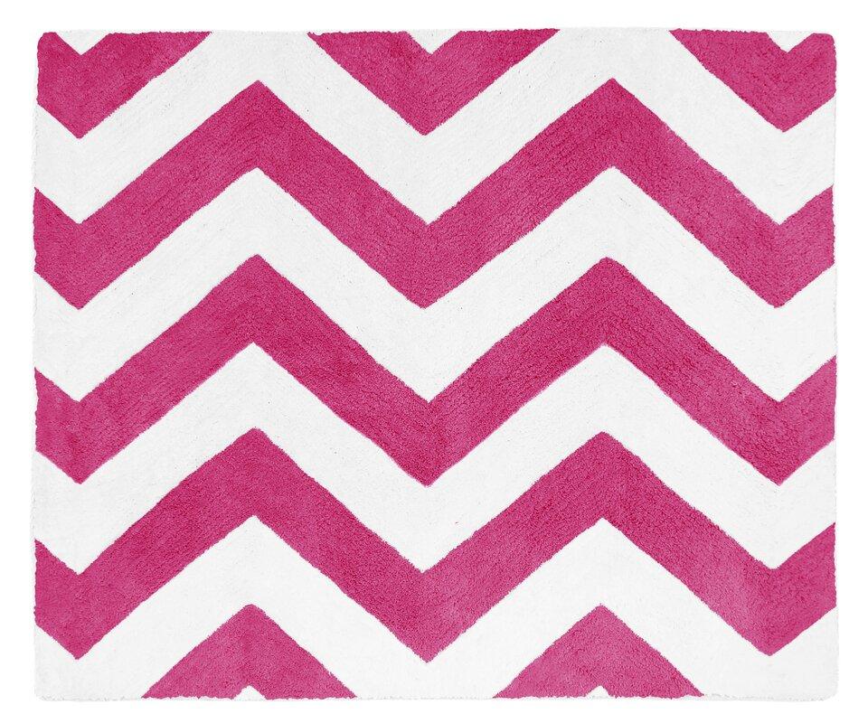 Chevron Hot Pink / White Area Rug