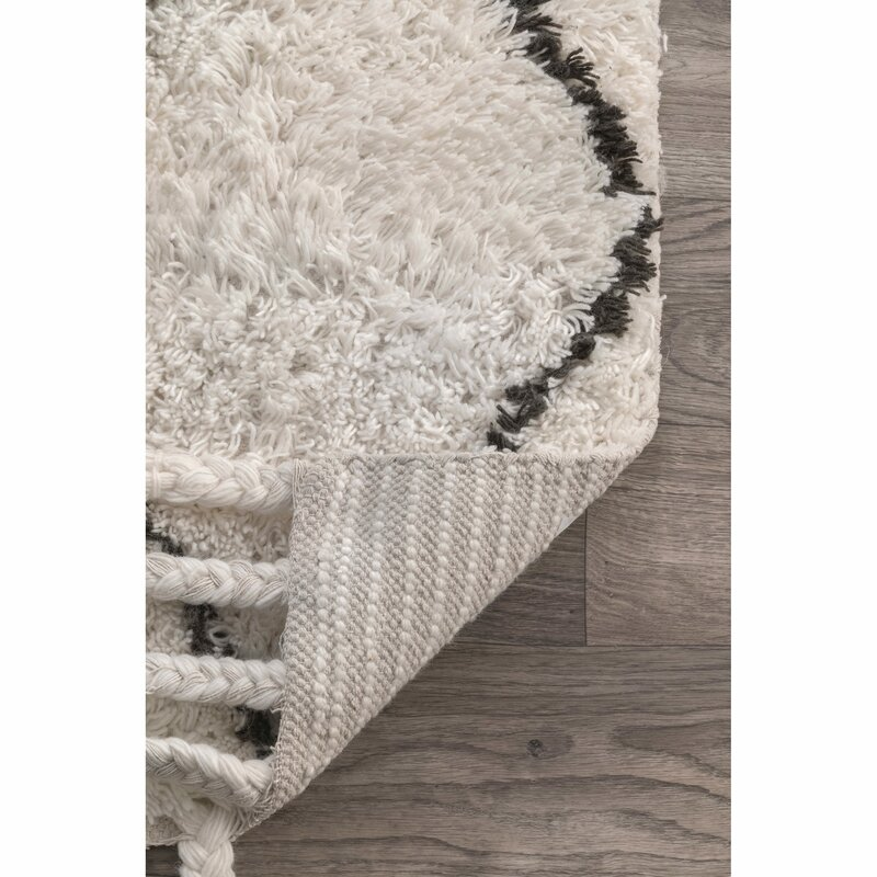 Awesome Twinar Hand Knotted Wool Off White/Dark Grey Area Rug