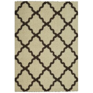 Garen Moroccan Trellis Contemporary Ivory/Brown Shag Area Rug