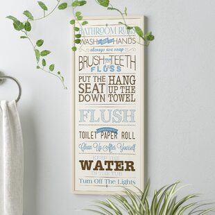 Bathroom Rules Textual Art On Wood