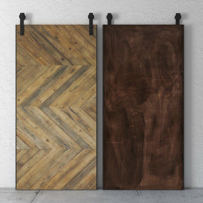 Reclaimed Wood Chevron Barn Door With Installation Hardware Kit