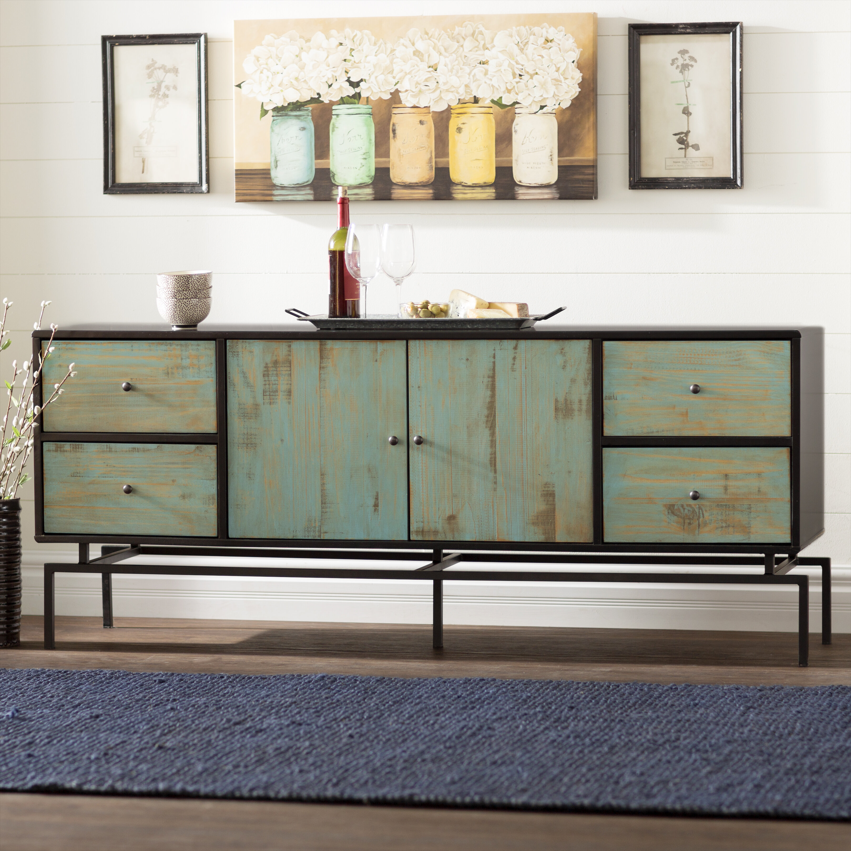 or table black storage display wood console sideboard products buffet dark with doors cherry drawers