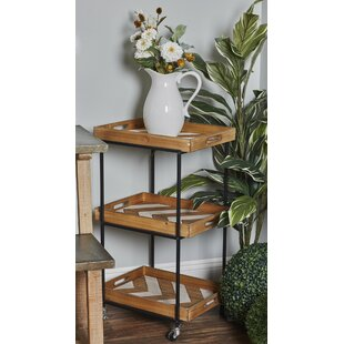 Dounton Traditional 3-Tiered Chevron Bar Cart