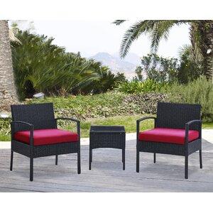 Kobe 3 Piece Rattan Conversation Set with Cushions