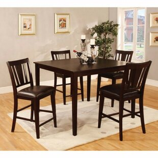 Felten Wooden Square Top 5 Piece Counter Height Dining Table Set
