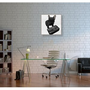 'Classy Frenchie Noir' Graphic Art Print on Canvas