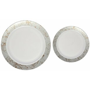 Marble Premium Heavyweight Plastic Disposable Plate Set  sc 1 st  Wayfair & Wedding Disposable Plates | Wayfair