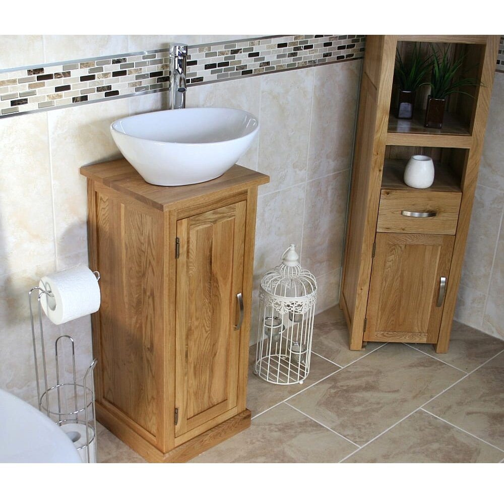Awesome Crafton Compact Solid Oak 350Mm Free Standing Vanity Unit Home Remodeling Inspirations Genioncuboardxyz