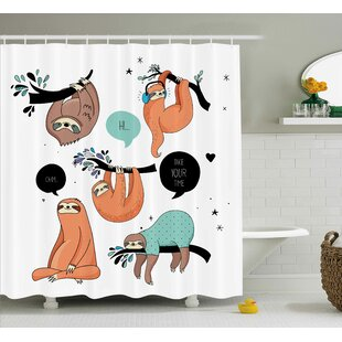 Lottie Smiling Sloth Cartoon Shower Curtain