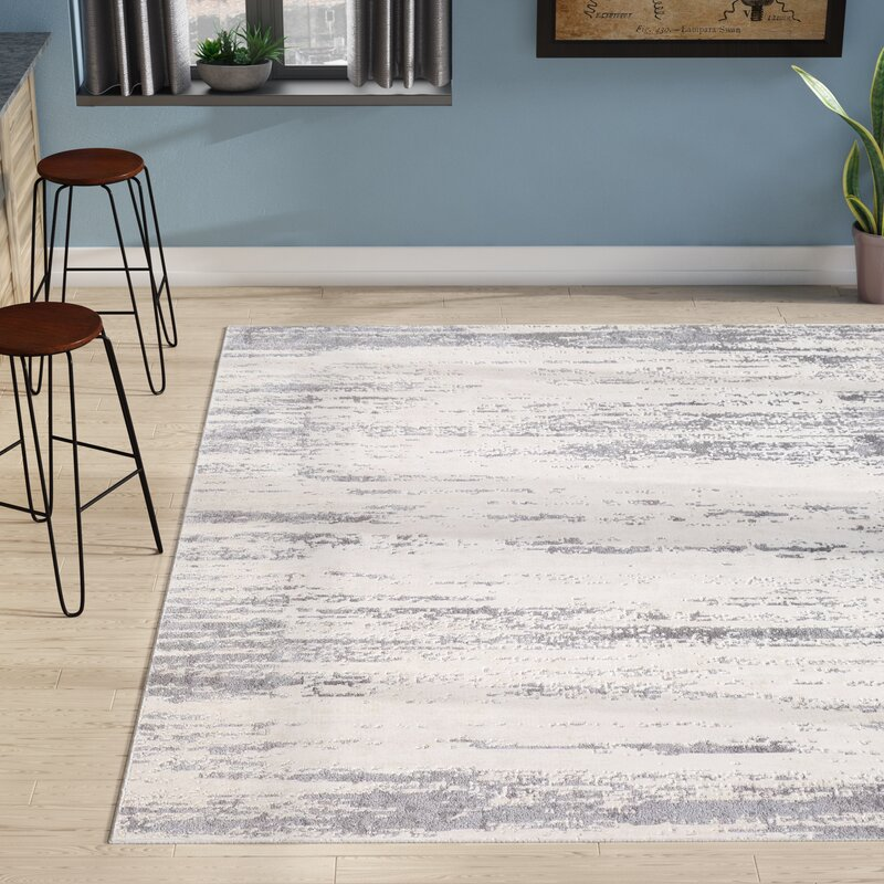 Brooks Distressed Modern Abstract Gray/Cream Area Rug