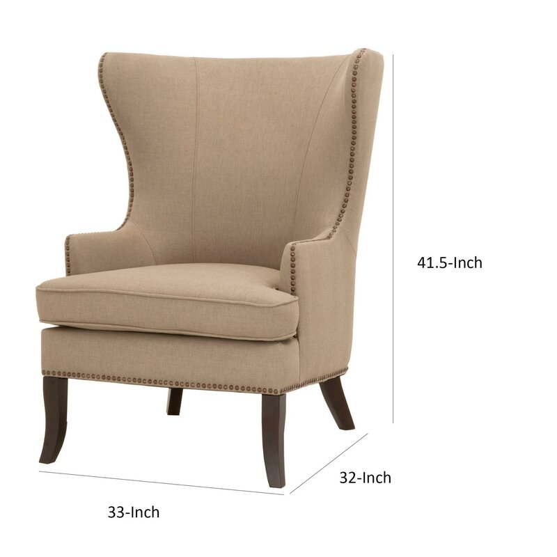 Cyrilmagnin Fabric Upholstered Wingback Chair
