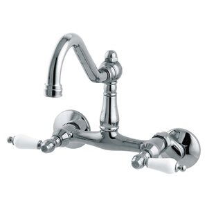 Elements of Design Double Handle Wall Mount Bridge Faucet with with Porcelain Lever Handles